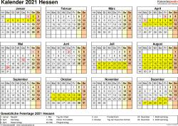 Vorlage 4: Kalender 2021 für Hessen als PDF-Vorlage (Querformat, 1 Seite, Jahresübersicht)
