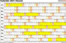 Vorlage 3: Kalender Hessen 2021 im Querformat, Tage nebeneinander