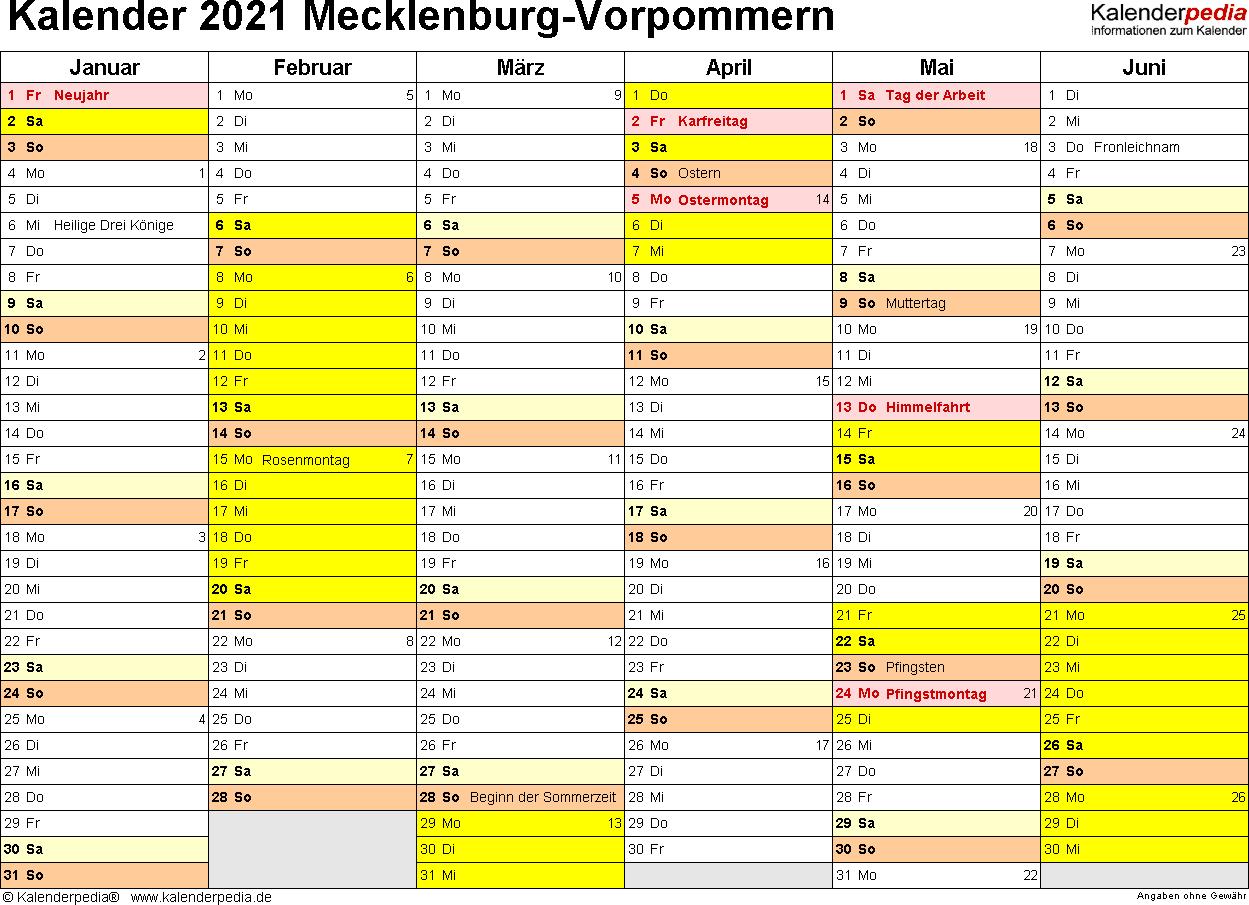 Vorlage 2: Kalender 2021 für Mecklenburg-Vorpommern als PDF-Vorlagen (Querformat, 2 Seiten)