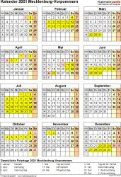 Vorlage 8: Kalender Mecklenburg-Vorpommern 2021 als Excel-Vorlage (Hochformat)