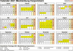 Vorlage 4: Kalender 2021 für Mecklenburg-Vorpommern als Excel-Vorlage (Querformat, 1 Seite, Jahresübersicht)