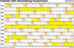 Vorlage 3: Kalender Mecklenburg-Vorpommern 2021 im Querformat, Tage nebeneinander