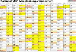 Vorlage 1: Kalender 2021 für Mecklenburg-Vorpommern als Word-Vorlage (Querformat, 1 Seite)
