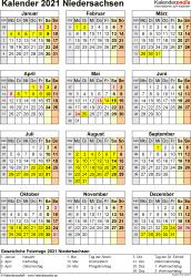 Vorlage 8: Kalender Niedersachsen 2021 als PDF-Vorlage (Hochformat)