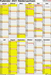 Vorlage 6: Kalender Niedersachsen 2021 als Excel-Vorlage (Hochformat)