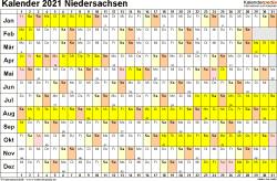 Vorlage 3: Kalender Niedersachsen 2021 im Querformat, Tage nebeneinander
