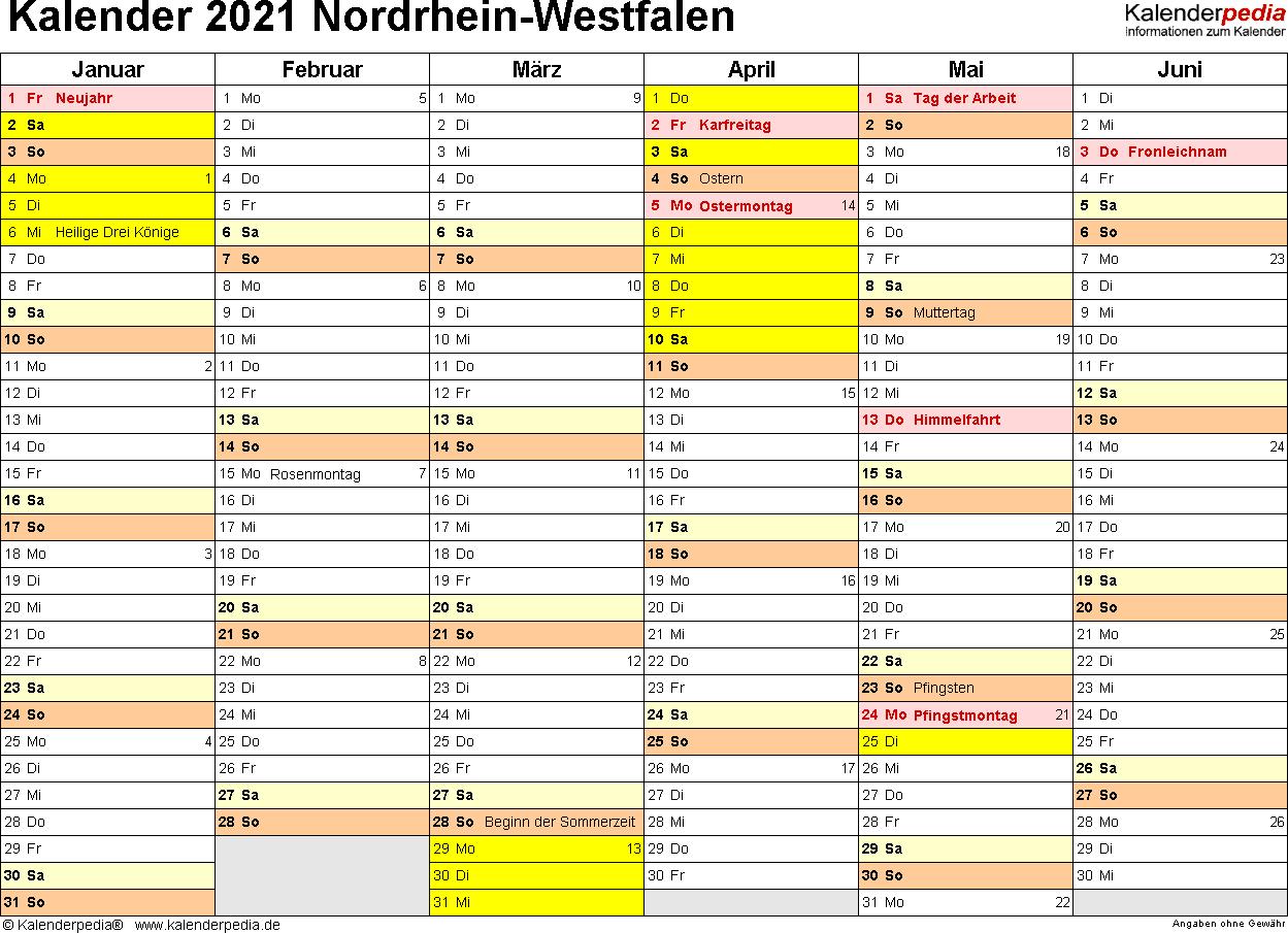 Vorlage 2: Kalender 2021 für Nordrhein-Westfalen (NRW) als Word-Vorlagen (Querformat, 2 Seiten)