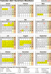 Vorlage 4: Kalender NRW 2021 als PDF-Vorlage (Hochformat)