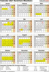 Vorlage 8: Kalender Nordrhein-Westfalen (NRW) 2021 als PDF-Vorlage (Hochformat)