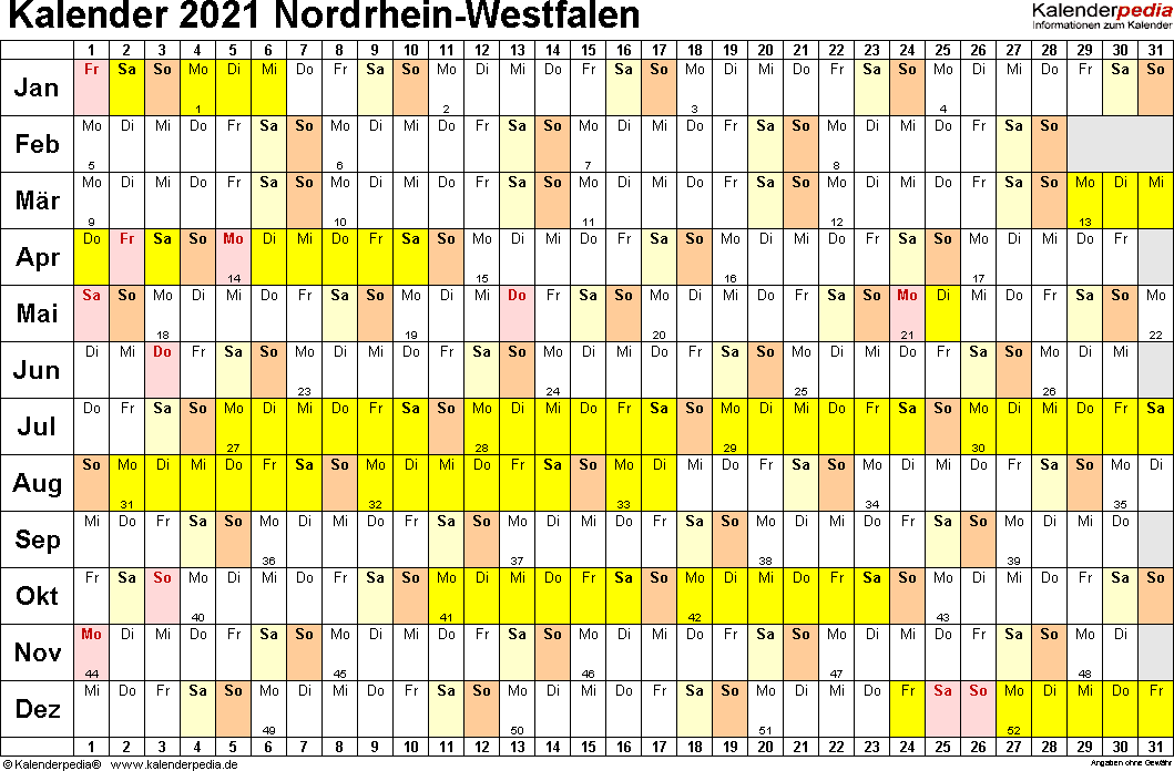 Vorlage 2: Kalender NRW 2021 im Querformat, Tage nebeneinander