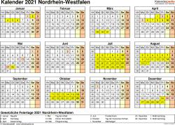 Vorlage 4: Kalender 2021 für Nordrhein-Westfalen (NRW) als PDF-Vorlage (Querformat, 1 Seite, Jahresübersicht)