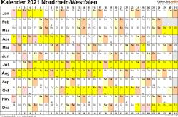 Vorlage 3: Kalender Nordrhein-Westfalen (NRW) 2021 im Querformat, Tage nebeneinander