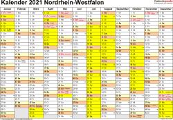 Vorlage 1: Kalender 2021 für Nordrhein-Westfalen (NRW) als Word-Vorlagen (Querformat, 1 Seite)