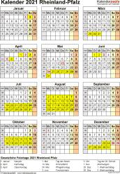 Vorlage 8: Kalender Rheinland-Pfalz 2021 als Excel-Vorlage (Hochformat)