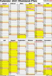 Vorlage 6: Kalender Rheinland-Pfalz 2021 als Excel-Vorlage (Hochformat)