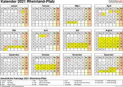 Vorlage 4: Kalender 2021 für Rheinland-Pfalz als PDF-Vorlage (Querformat, 1 Seite, Jahresübersicht)