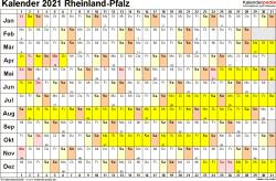 Vorlage 3: Kalender Rheinland-Pfalz 2021 im Querformat, Tage nebeneinander