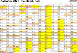 Vorlage 1: Kalender 2021 für Rheinland-Pfalz als Excel-Vorlagen (Querformat, 1 Seite)