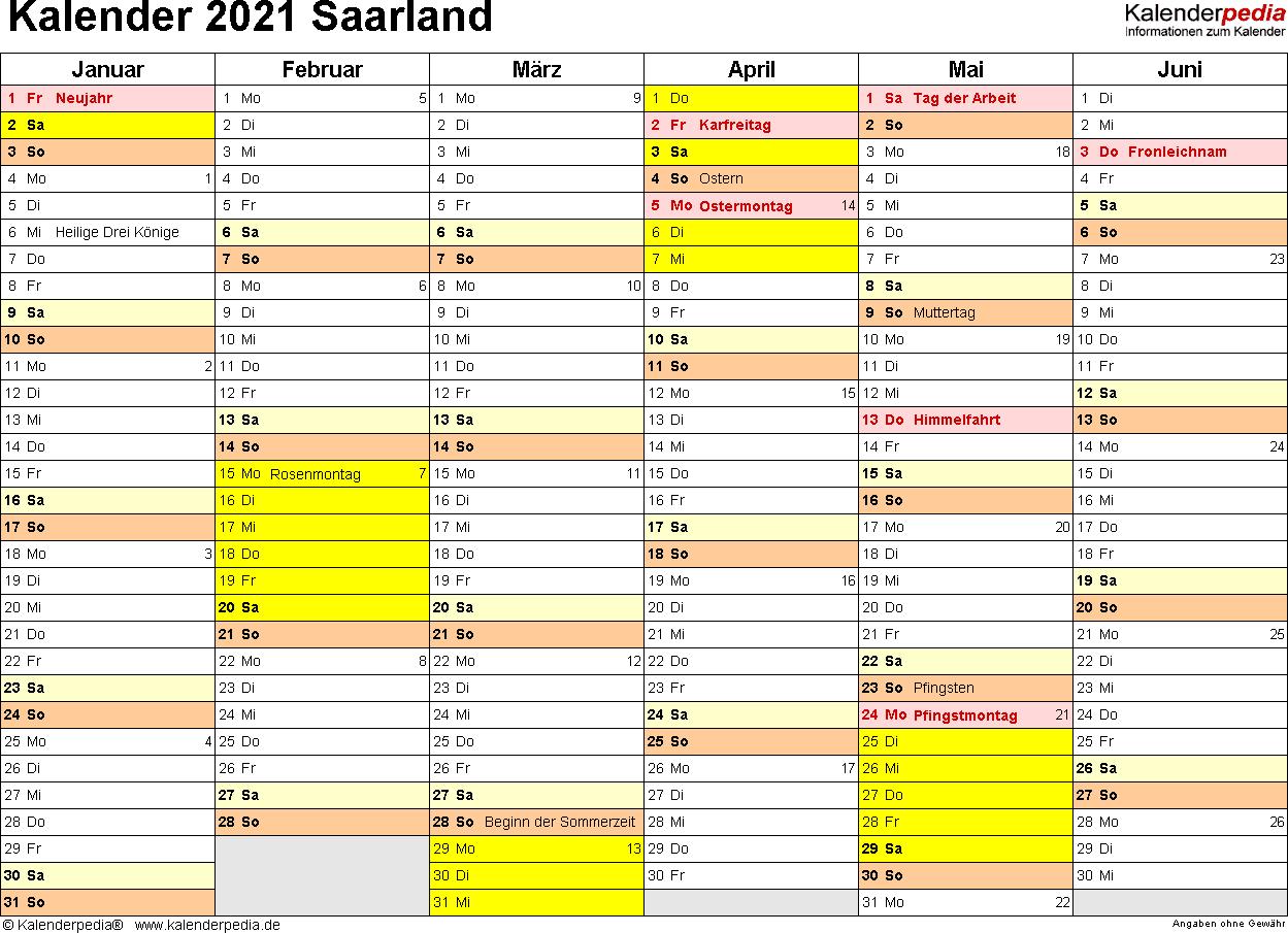 Vorlage 2: Kalender 2021 für Saarland als Word-Vorlagen (Querformat, 2 Seiten)