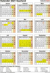 Vorlage 8: Kalender Saarland 2021 als Word-Vorlage (Hochformat)