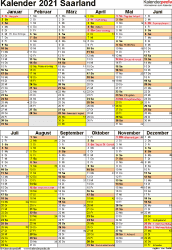 Vorlage 6: Kalender Saarland 2021 als Word-Vorlage (Hochformat)