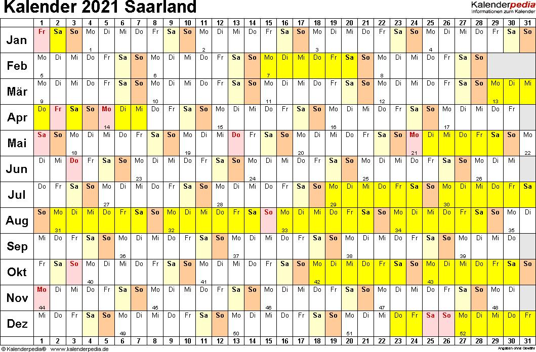 Vorlage 3: Kalender Saarland 2021 im Querformat, Tage nebeneinander