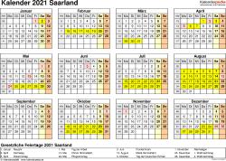 Vorlage 4: Kalender 2021 für Saarland als PDF-Vorlage (Querformat, 1 Seite, Jahresübersicht)