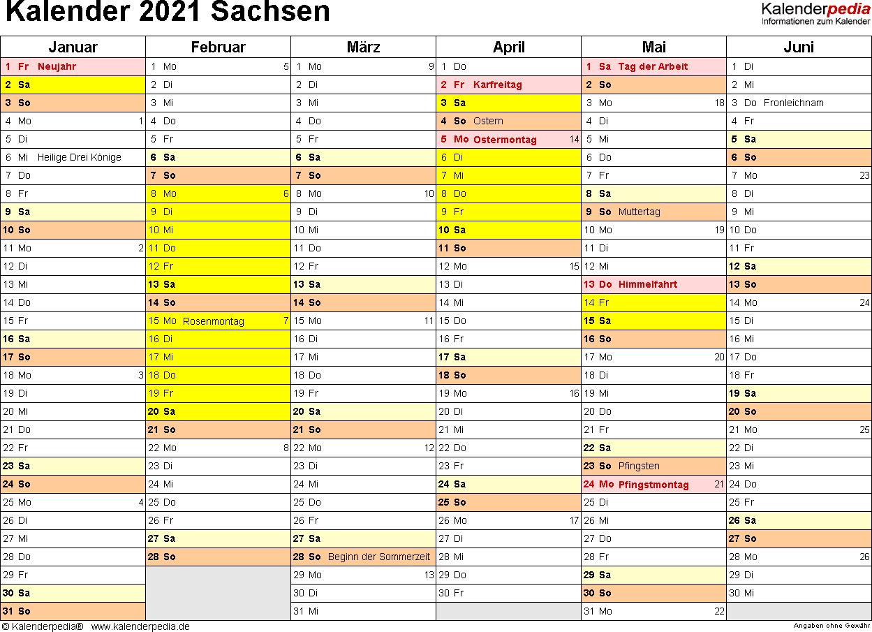 Vorlage 3: Kalender 2021 für Sachsen als PDF-Vorlagen (Querformat, 2 Seiten)