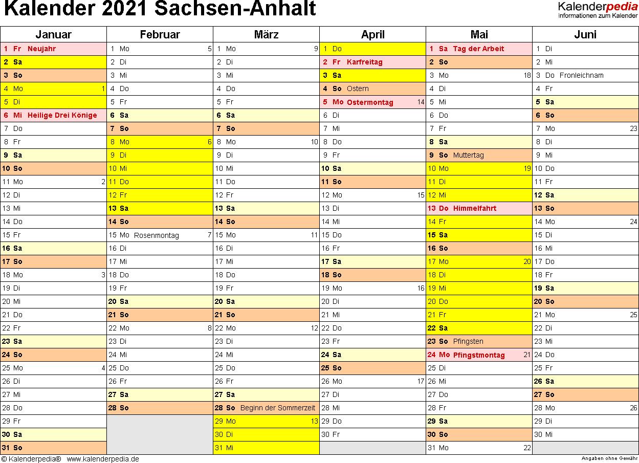 Vorlage 3: Kalender 2021 für Sachsen-Anhalt als PDF-Vorlagen (Querformat, 2 Seiten)