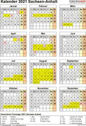 Vorlage 4: Kalender Sachsen-Anhalt 2021 als PDF-Vorlage (Hochformat)