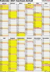 Vorlage 6: Kalender Sachsen-Anhalt 2021 als Word-Vorlage (Hochformat)