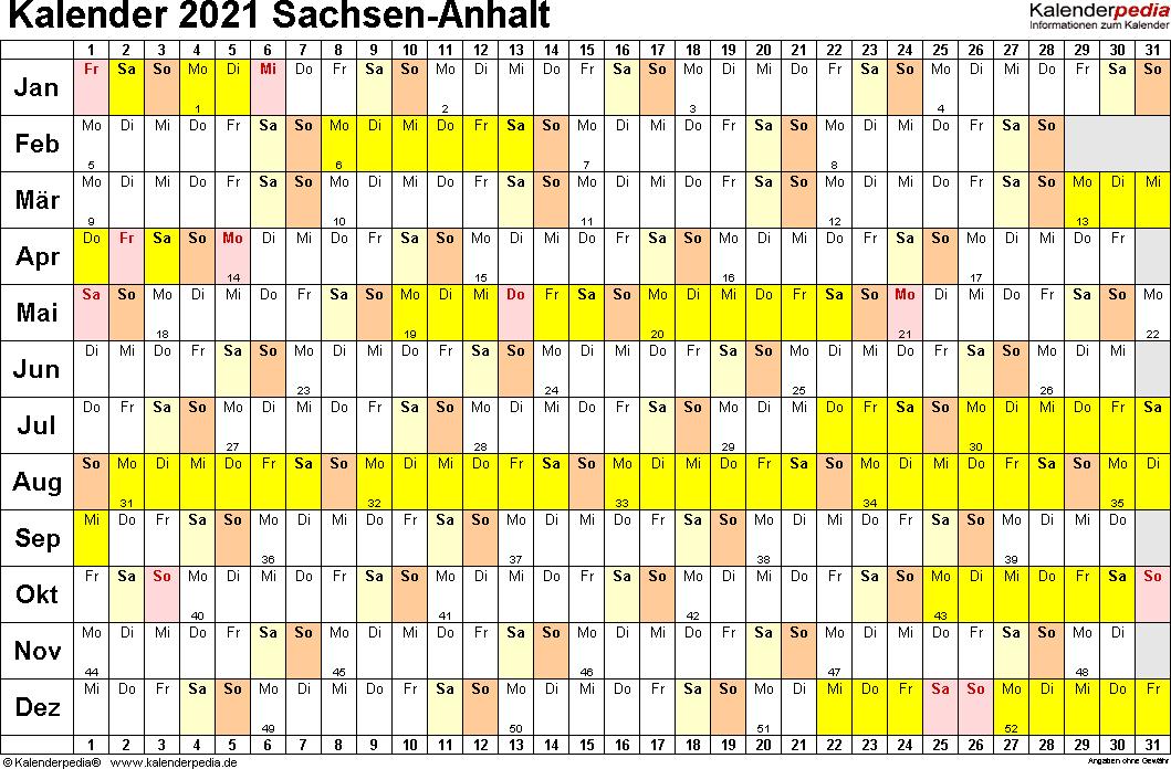 Vorlage 2: Kalender Sachsen-Anhalt 2021 im Querformat, Tage nebeneinander