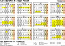 Vorlage 4: Kalender 2021 für Sachsen-Anhalt als Word-Vorlage (Querformat, 1 Seite, Jahresübersicht)