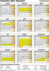Vorlage 8: Kalender Sachsen 2021 als Excel-Vorlage (Hochformat)