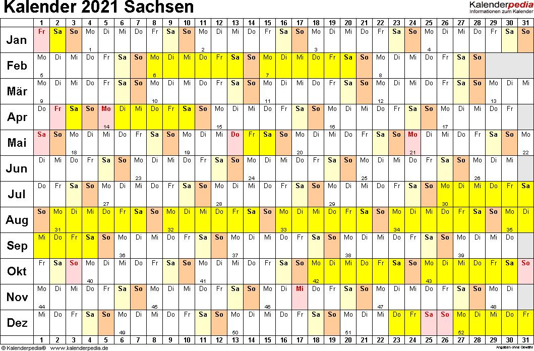 Vorlage 2: Kalender Sachsen 2021 im Querformat, Tage nebeneinander