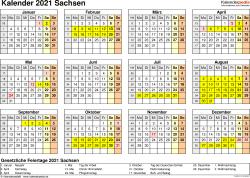 Vorlage 4: Kalender 2021 für Sachsen als Excel-Vorlage (Querformat, 1 Seite, Jahresübersicht)
