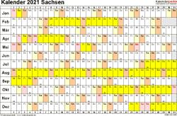 Vorlage 3: Kalender Sachsen 2021 im Querformat, Tage nebeneinander