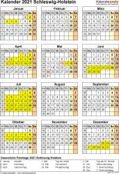Vorlage 8: Kalender Schleswig-Holstein 2021 als Word-Vorlage (Hochformat)