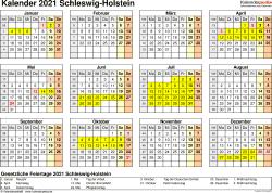 Vorlage 4: Kalender 2021 für Schleswig-Holstein als PDF-Vorlage (Querformat, 1 Seite, Jahresübersicht)