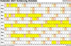 Vorlage 3: Kalender Schleswig-Holstein 2021 im Querformat, Tage nebeneinander