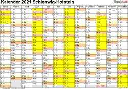 Vorlage 1: Kalender 2021 für Schleswig-Holstein als Word-Vorlage (Querformat, 1 Seite)