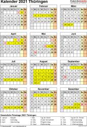 Vorlage 8: Kalender Thüringen 2021 als Excel-Vorlage (Hochformat)