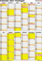 Vorlage 5: Kalender Thüringen 2021 als Excel-Vorlage (Hochformat)