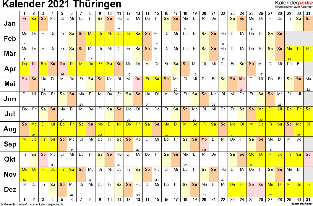 Vorlage 2: Kalender Thüringen 2021 im Querformat, Tage nebeneinander
