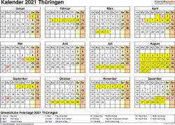 Vorlage 4: Kalender 2021 für Thüringen als Excel-Vorlage (Querformat, 1 Seite, Jahresübersicht)