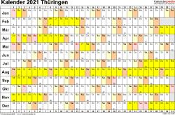 Vorlage 3: Kalender Thüringen 2021 im Querformat, Tage nebeneinander