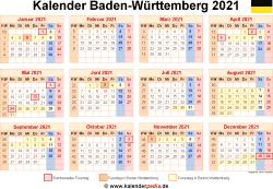 Kalender 2021 Baden-Württemberg