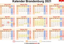 Kalender 2021 Brandenburg