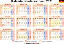 Kalender 2021 Niedersachsen
