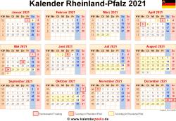 Kalender 2021 Rheinland-Pfalz